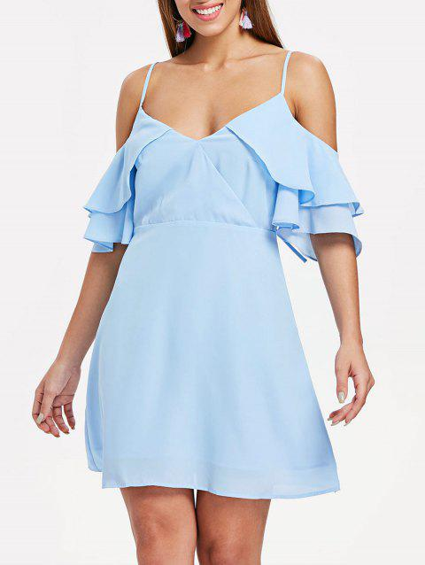 Layered Sleeve Back Cut Out A Line Dress - LIGHT SKY BLUE XL