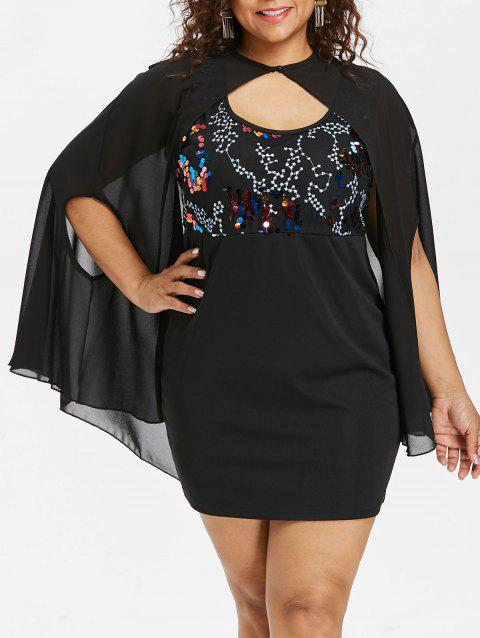 Plus Size Sequins Trim Dress with Armhole Capelet - BLACK 2X