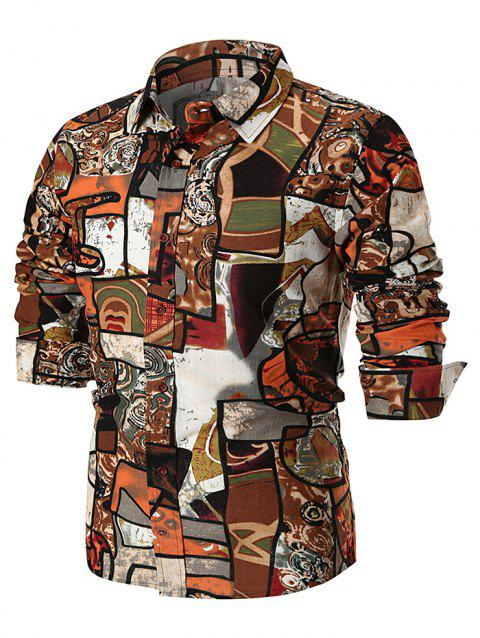 Vintage Abstract Print Long Sleeve Shirt - multicolor A 3XL