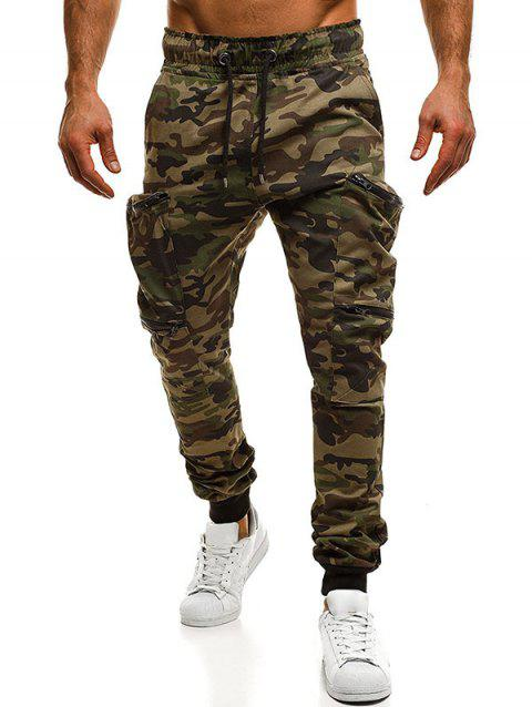 ccf127e3460f Camouflage Zipper Pockets Cargo Jogger Pants - DIGITAL WOODLAND CAMOUFLAGE S
