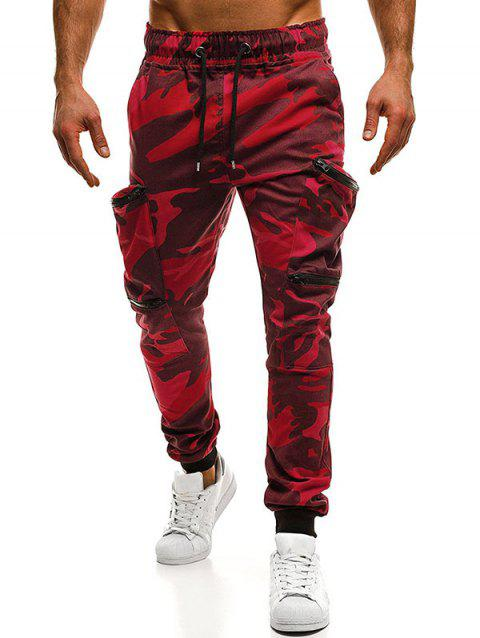 Camouflage Zipper Pockets Cargo Jogger Pants - THREE SAND CAMOUFLAGE L
