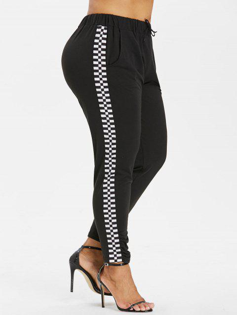 Plus Size Drawstring Checkered Pants - BLACK 3X