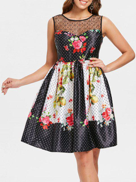 Print Knee Length Flare Dress - BLACK M