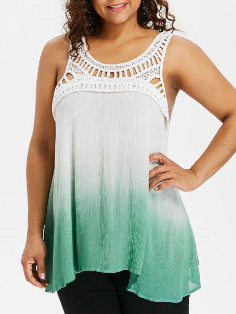 Plus Size Crochet Trim Ombre Crinkle Tank Top - GREEN 2X