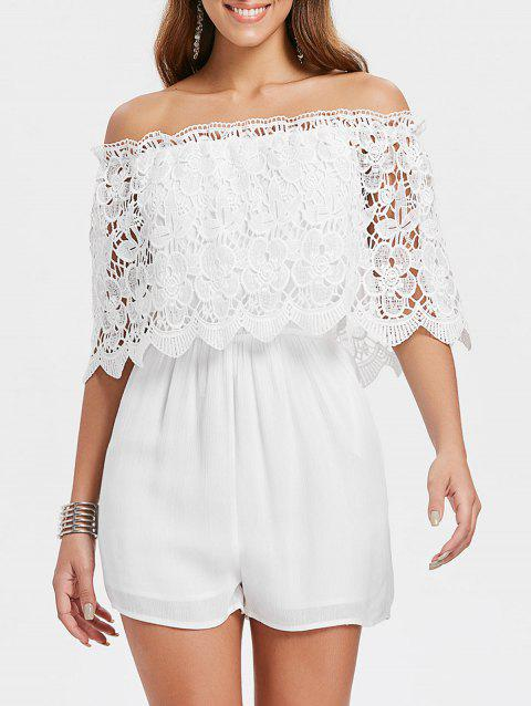 Off The Shoulder Lace Overlay Romper - WHITE M