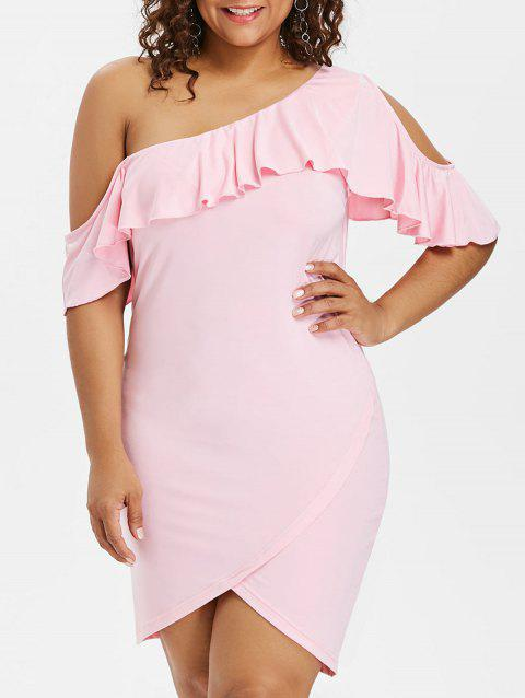Plus Size Cutout Ruffle Knee Length Tulip Dress - LIGHT PINK 2X