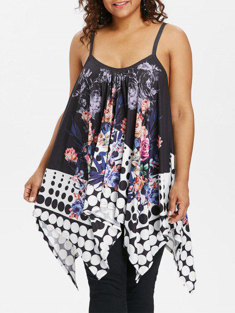 Dotted Plus Size Floral Print Cami Top - BLACK 1X