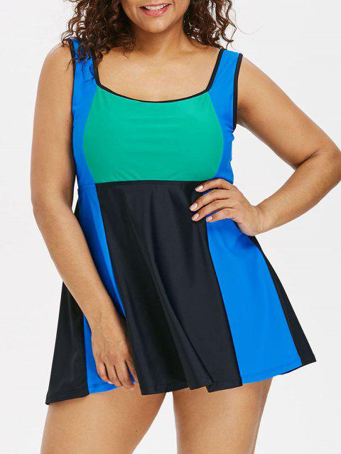 High Waist Plus Size Color Block Tankini Set - BLACK L