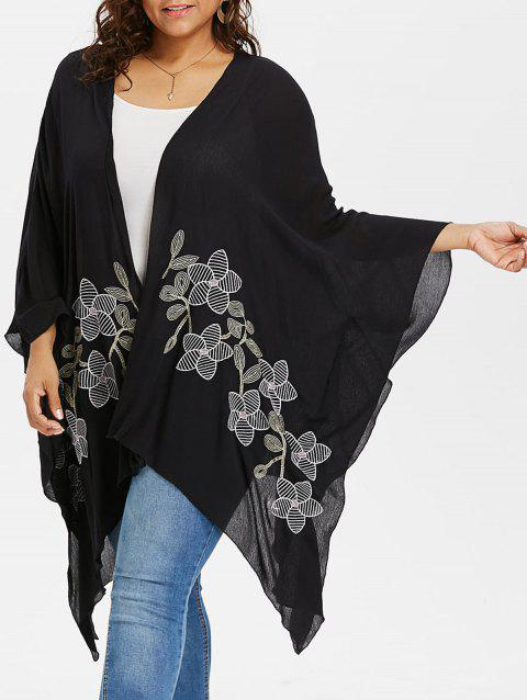 Plus Size Open Front Cardigan Coat - BLACK 2X