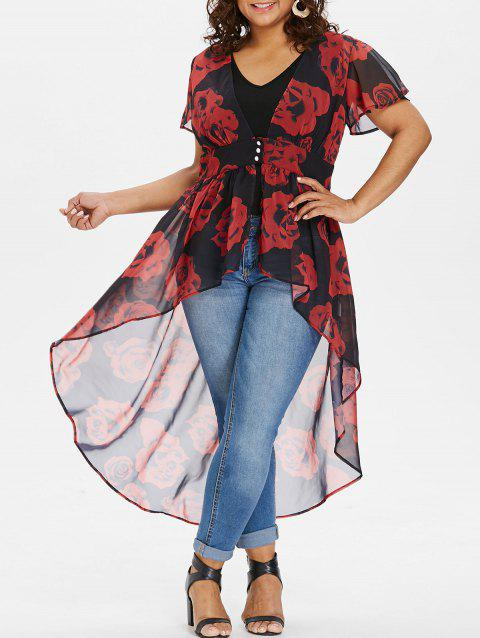Plus Size Cap Sleeve Maxi Blouse with Tank Top - RED 4X