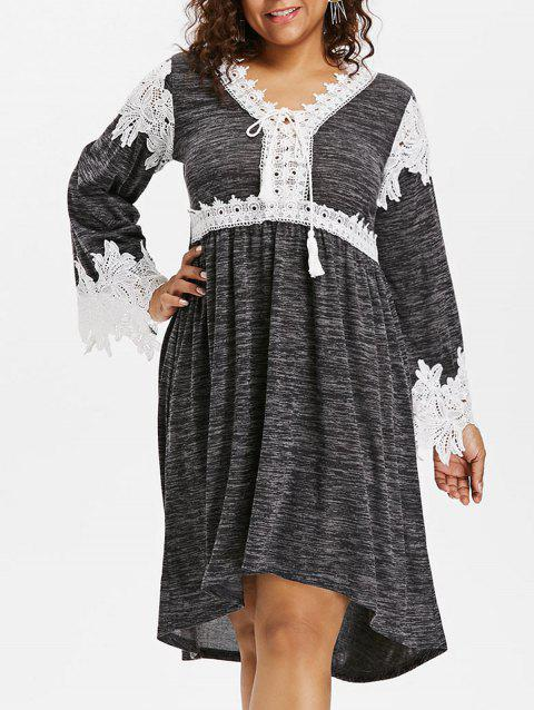 Plus Size Lace Panel V Neck Dress - CARBON GRAY 3X
