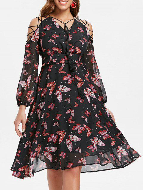 Lace Up Butterfly Print Chiffon Dress - BLACK M