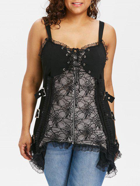 Plus Size Flounce Trim Zip Up Tank Top - BLACK 1X