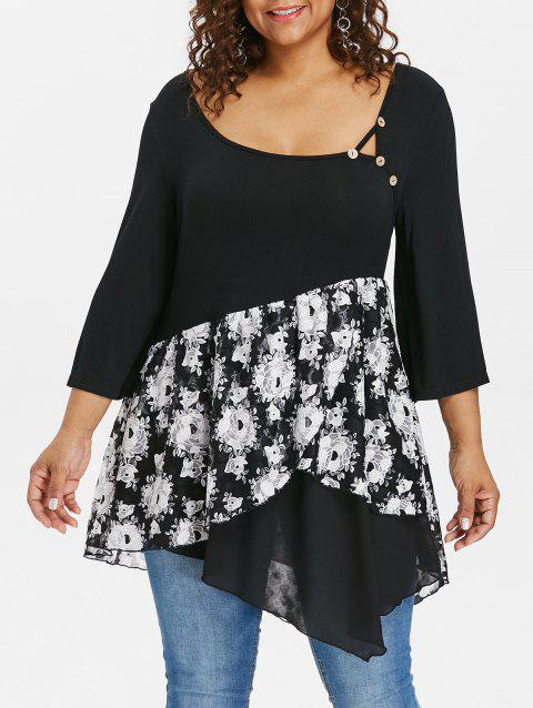 Plus Size Scoop Neck Floral Asymmetric T-shirt - BLACK L