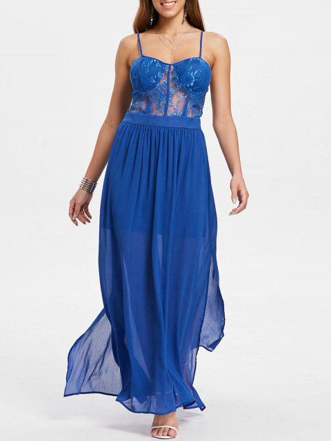 See Through Lace Insert Maxi Flowing Dress - ROYAL BLUE L