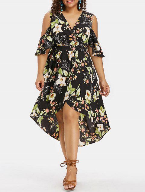 Floral Print Plus Size Slit High Low Dress - BLACK 1X