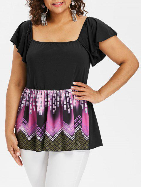 Plus Size Square Neck Butterfly Sleeve T-shirt - BLACK L