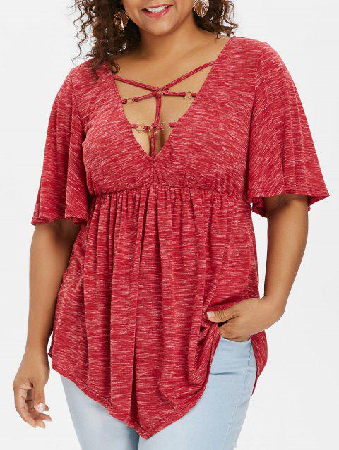 Plus Size Bell Sleeve Strappy T-shirt - RED 5X