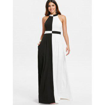 Color Block Maxi Dress - BLACK M