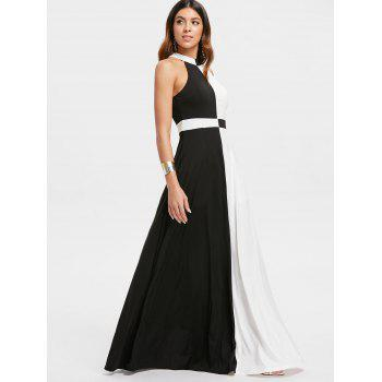 Color Block Maxi Dress - BLACK L