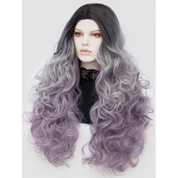 Long Center Parting Curly Colormix Party Synthetic Wig - multicolor