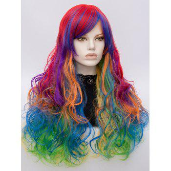 Long Side Bang Layered Colorful Curly Synthetic Wig - multicolor