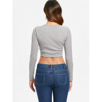 Ruched Plunge Crop Top - GRAY M