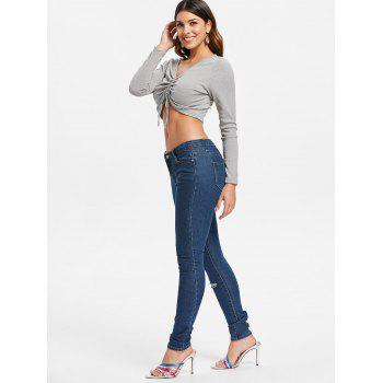 Ruched Plunge Crop Top - GRAY L