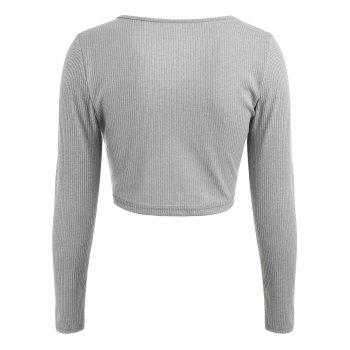 Ruched Plunge Crop Top - GRAY XL