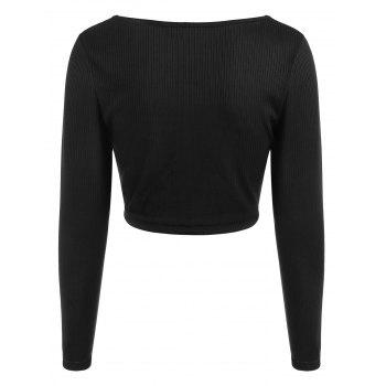 Ruched Plunge Crop Top - BLACK M