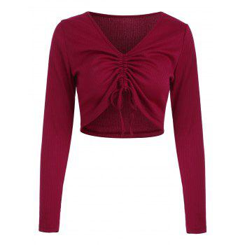 Ruched Plunge Crop Top - LAVA RED M