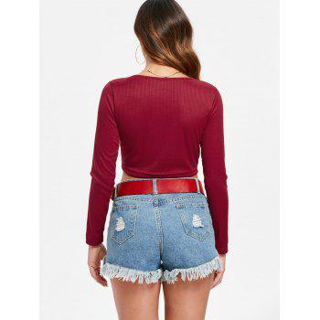 Ruched Plunge Crop Top - LAVA RED L
