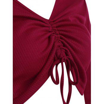 Ruched Plunge Crop Top - LAVA RED XL