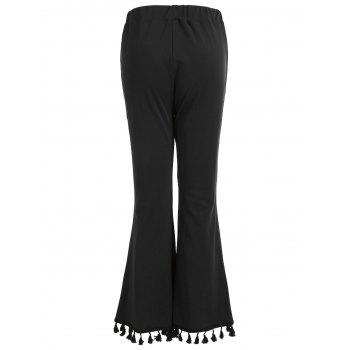High Rise Tassels Flare Pants - BLACK S