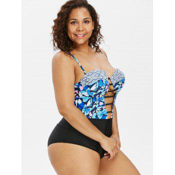 Padded Plus Size Ladder Cut Out Swimwear - multicolor L