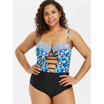 Padded Plus Size Ladder Cut Out Swimwear - multicolor 1X