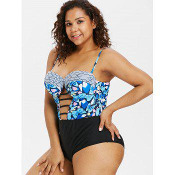 Padded Plus Size Ladder Cut Out Swimwear - multicolor 3X