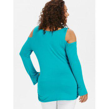 Plus Size Scoop Neck  Open Shoulder T-shirt - MACAW BLUE GREEN 1X