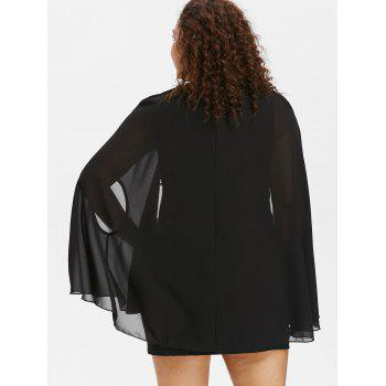 Plus Size Sequins Trim Dress with Armhole Capelet - BLACK L