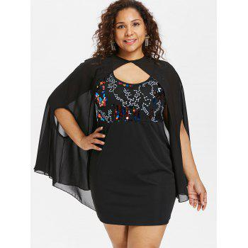 Plus Size Sequins Trim Dress with Armhole Capelet - BLACK 5X