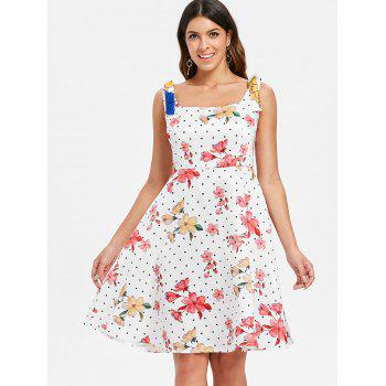 Sleeveless Polka Dot A Line Dress - WHITE S