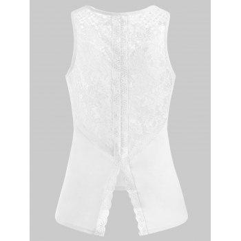 Back Slit Lace Tank Top - WHITE XL
