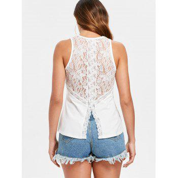 Back Slit Lace Tank Top - WHITE M