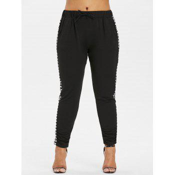 Plus Size Drawstring Checkered Pants - BLACK 1X