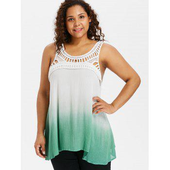 Plus Size Crochet Trim Ombre Crinkle Tank Top - GREEN L