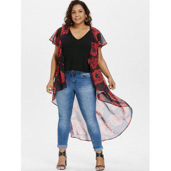 Plus Size Cap Sleeve Maxi Blouse with Tank Top - RED L
