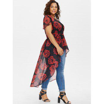 Plus Size Cap Sleeve Maxi Blouse with Tank Top - RED 2X