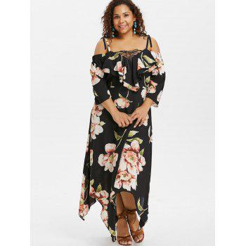 Plus Size Lace Up Maxi Flowing Dress - BLACK 4X