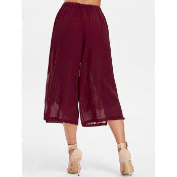 Lace Panel Capri Palazzo Pants - RED WINE S