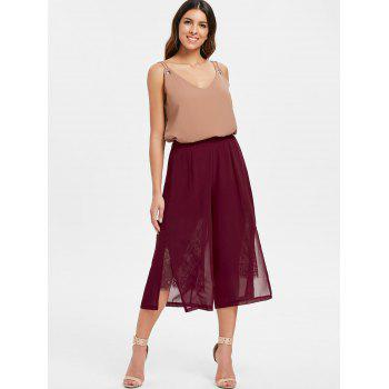 Lace Panel Capri Palazzo Pants - RED WINE M